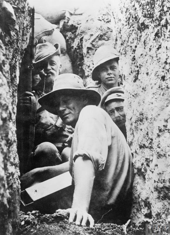 Infantrymen and light horsemen in a trench on Walkers Ridge, Gallipoli.