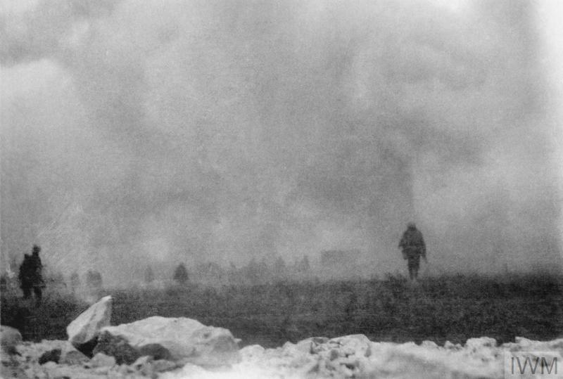 British troops advance to the attack through a cloud of poison gas as viewed from the trench which they have just left: a remarkable snapshot taken by a soldier of the London Rifle Brigade on the opening day of the Battle of Loos, 25 September 1915.