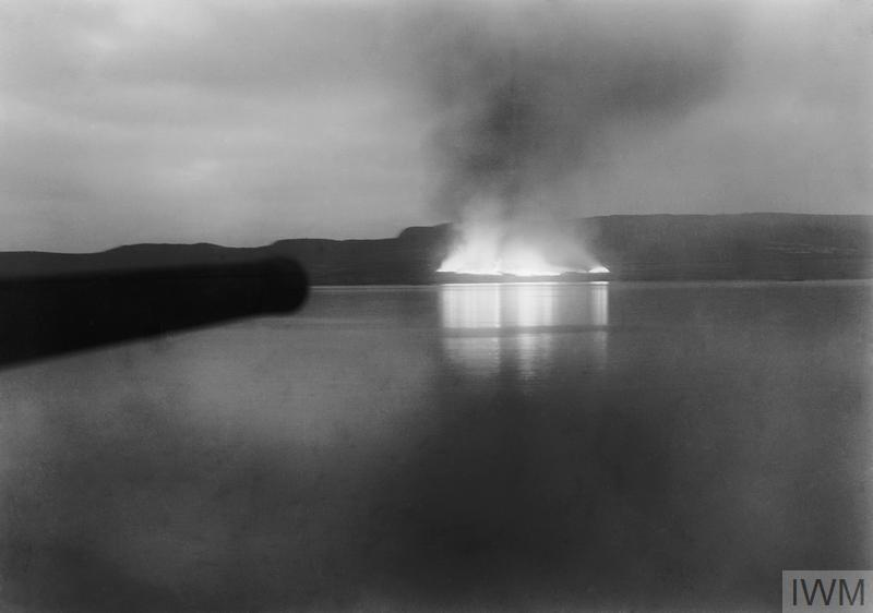 Stores burning on the beach at 5am after the evacuation at Suvla.