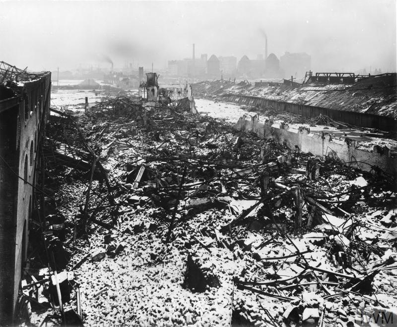 The Venesta factory, which produced wood veneer packing cases for the tea trade, lies in ruins following the detonation of 83 tonnes of TNT at the Brunner Mond's explosives factory in Silvertown, East London, on 19 January 1917.