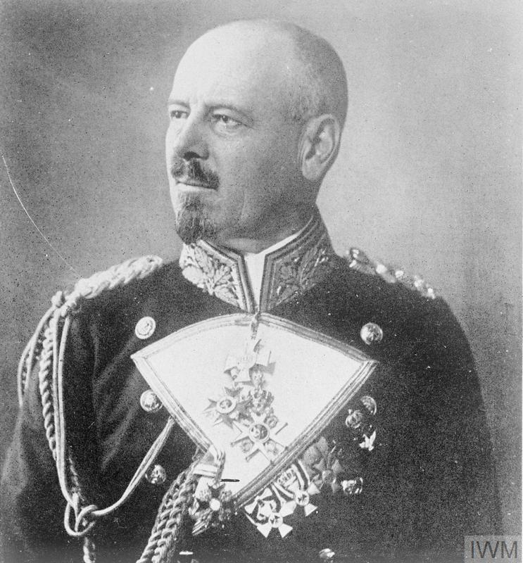 A head and shoulders portrait of Vice Admiral Franz von Hipper, the commander of the German scouting force during the Battle of Jutland. This consisted of five battlecruisers, five light cruisers and thirty destroyers. This force was intended to draw the British Grand Fleet on to the guns of the German High Seas Fleet.