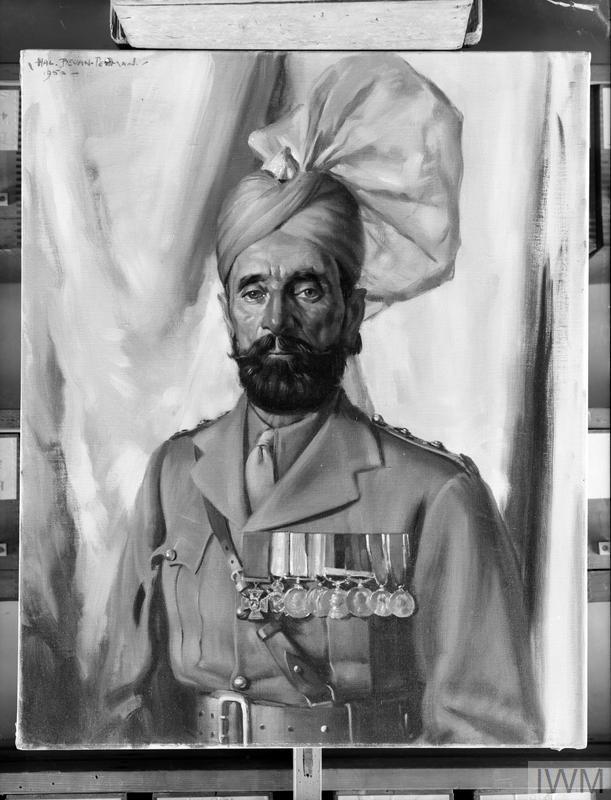 Oil painting of Subadar Khudadad Khan VC, by Hal Bevan-Petman, 1952