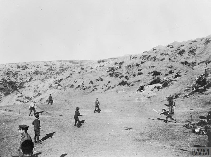 Leisure and entertainment at the Front: A game of cricket being played at Shell Green - the only game of cricket played on the Gallipoli peninsula. Major George Macarthur Onslow of the Light Horse, batting, is being caught out. Shells were passing overhead all the time the game was in progress. This game was an attempt to distract the Turks from the imminent departure of Allied troops. With the exception of letter writing and sea bathing, the troops at Gallipoli had virtually no opportunity for recreation.