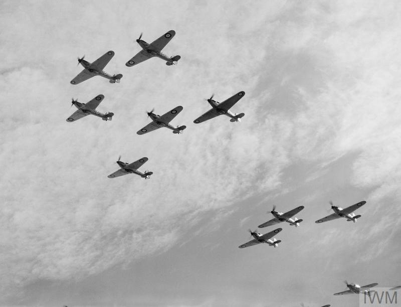 Operations: Nine Hawker Hurricanes of 85 Squadron, Royal Air Force seen from slightly below.