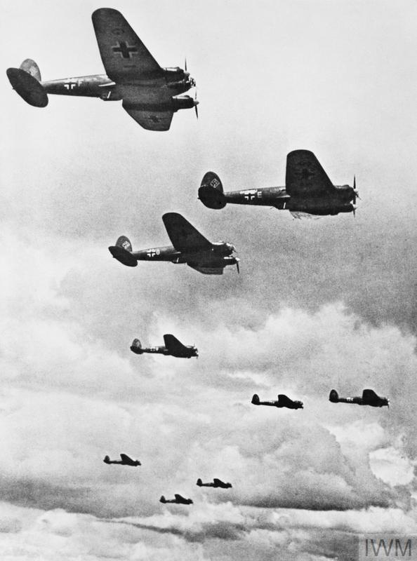 A formation of Heinkel He 111 bombers, 1940.
