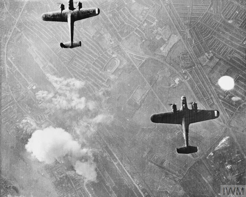 Two German Dornier 17 bombers over West Ham in London during a raid on the first day of the Blitz, 7 September 1940.