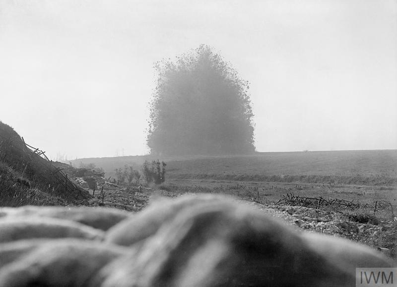 The mine under German front line positions at Hawthorn Redoubt is fired 10 minutes before the assault at Beaumont Hamel on the first day of the Battle of the Somme