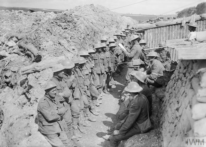 Battle of Albert. Roll call of the 1st Battalion, Lancashire Fusiliers, on the afternoon of 1 July 1916, following their assault on Beaumont Hamel during the opening day of the Battle of the Somme.