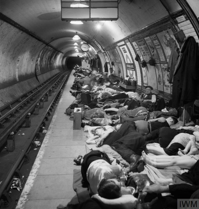Elephant and Castle London Underground Station Shelter: People sleeping on the crowded platform of Elephant and Castle tube station while taking shelter from German air raids during the London Blitz.