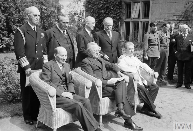 Clement Attlee with President Truman of the United States and Joseph Stalin of the Soviet Union at the Potsdam Conference in Berlin, shortly after winning the British General election in 1945, 1 August 1945.