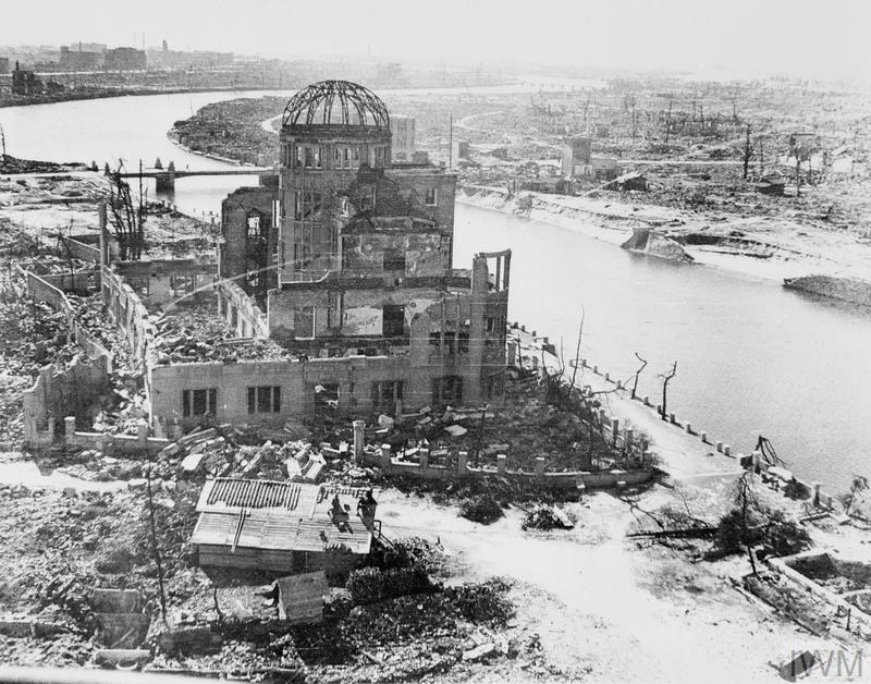 Hiroshima following the dropping of the atomic bomb on 6 August 1945. The prominent building in the foreground was the Industry Promotional Hall, retained in its ruined state as a peace memorial.