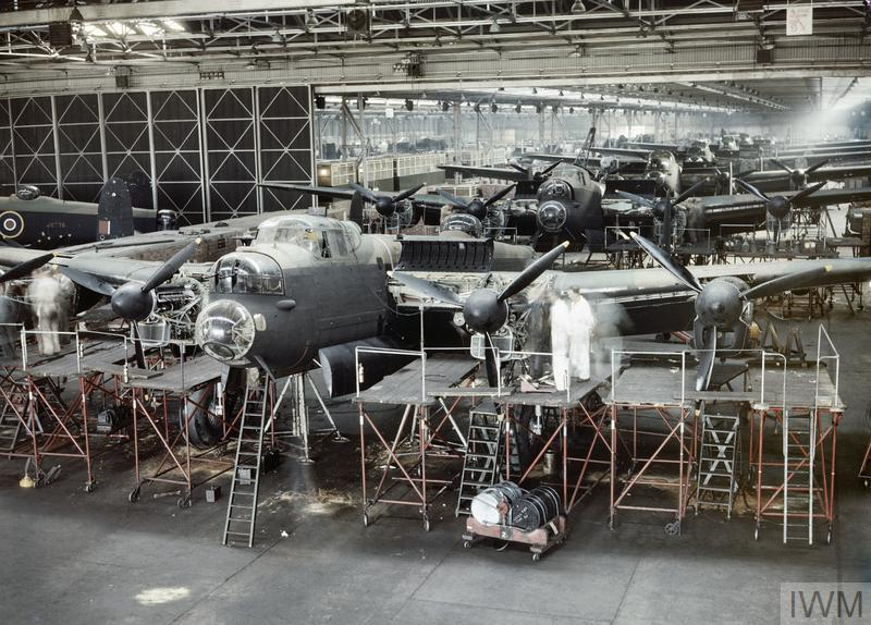 Avro Lancaster bombers nearing completion at the A V Roe & Co Ltd factory, Woodford, Cheshire.