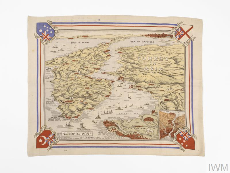 Depicts straits area with ships, aircraft, towns, hills etc.