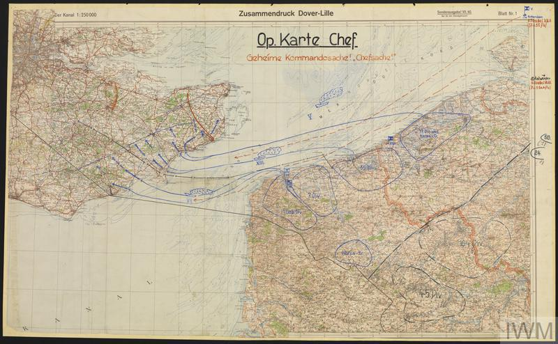 One of many German maps of the planned invasion of Britain.