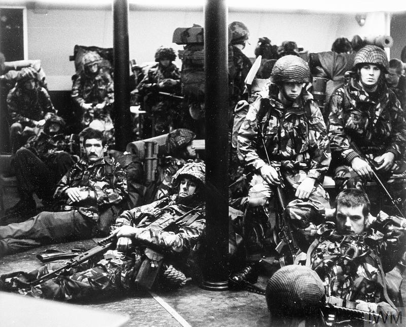 Men of 2 Parachute Regiment wait on board the ferry NORLAND before the landings at San Carlos.