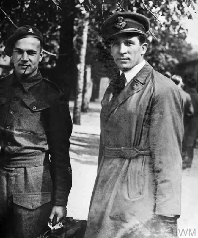 Flight Lieutenant Ted Drake, who played football for Arsenal from 1934 - 1945, arriving at the Parc des Princes Stadium in Paris, one of seven airmen to play in a match between British and French forces.