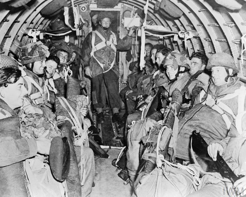 British paratroopers on their way to Arnhem in a USAAF C-47 aircraft on 17 September 1944.