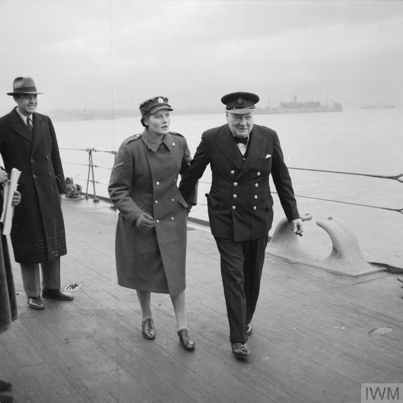 The Prime Minister Winston Churchill with his daughter, Mary, onboard HMS DUKE OF YORK shortly before leaving for the United States of America in December 1941.