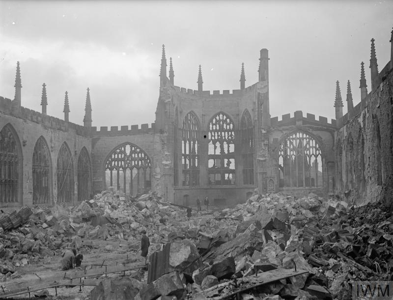 Remains of the 600-year-old St Michael's Cathedral two days after the devastating air raid on Coventry on 14-15 November 1940