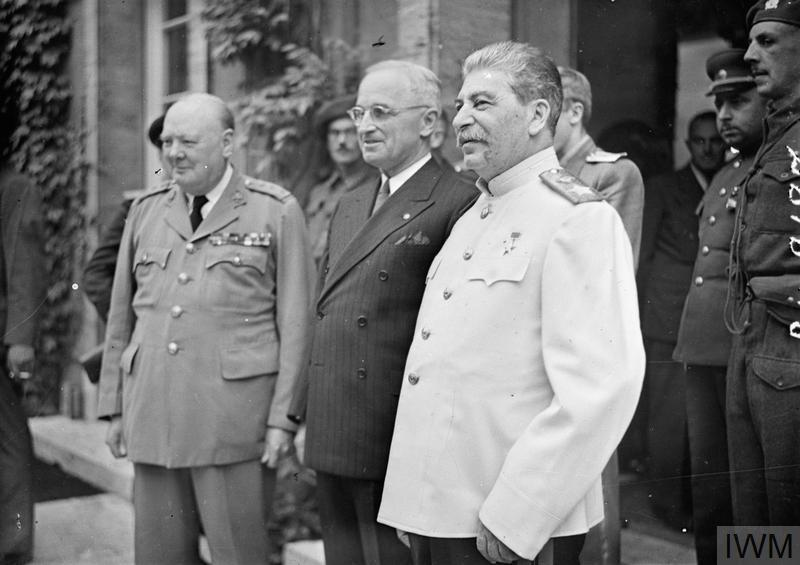 Winston Churchill, Harry Truman and Joseph Stalin at the Potsdam Conference on 23 July 1945