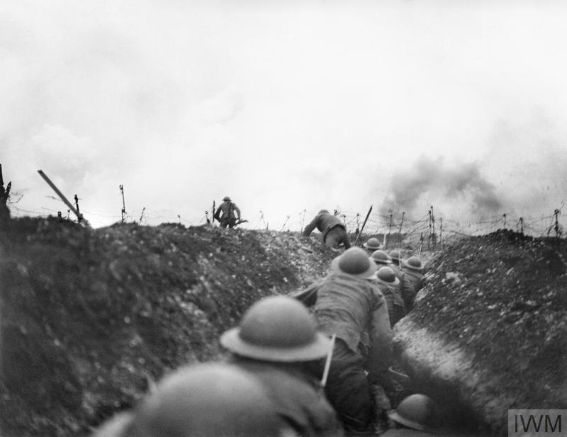 A party of British soldiers being lead out of a sap