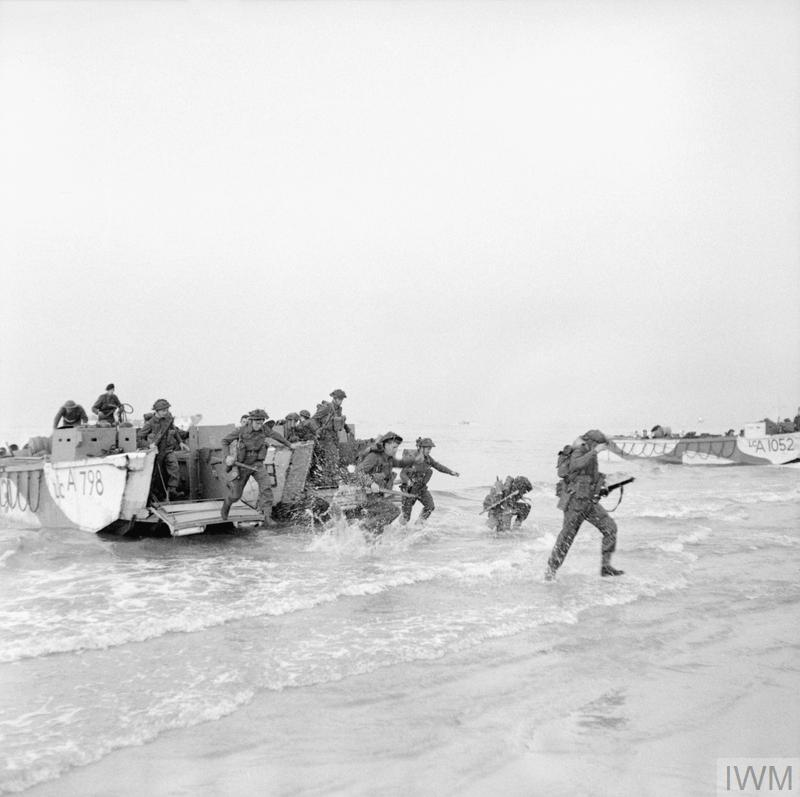 Troops storm ashore from LCAs (Landing Craft Assault) during Exercise 'Fabius', a major invasion rehearsal on the British coast, 5 May 1944. Nearest landing craft is LCA 798.