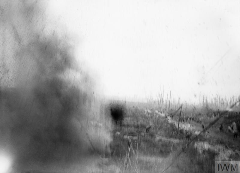 A shell bursts within ten yards of the photographer near Zonnebeke during the Battle of Passchendaele, 23rd September 1917