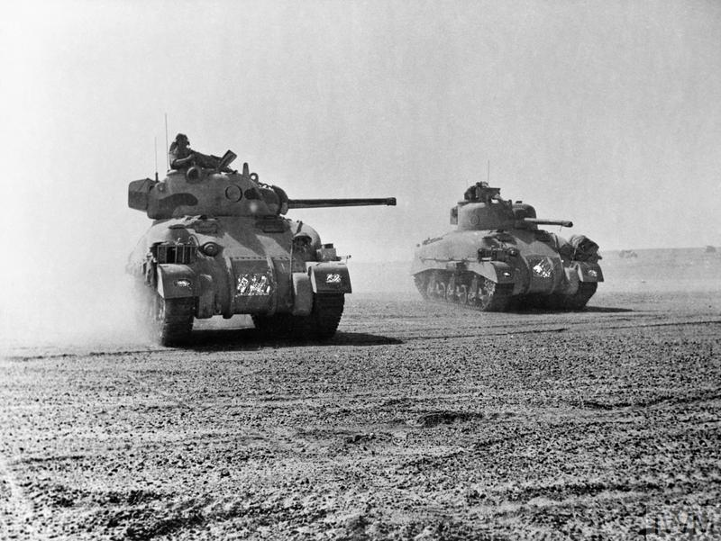 Sherman tanks of 'C' Squadron, 9th Queen's Royal Lancers, 2nd Armoured Brigade, 1st Armoured Division, 5 November 1942.