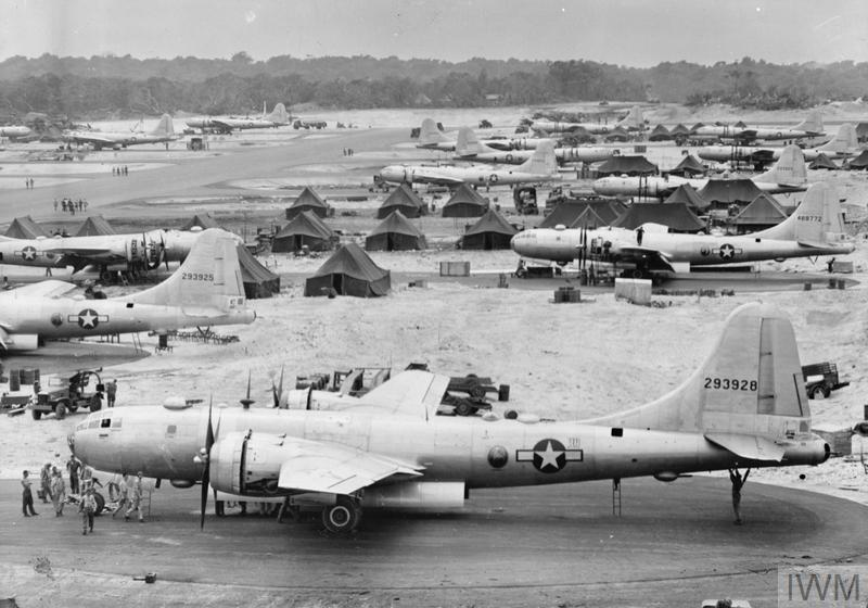Boeing B-29 Superfortress bombers at Bomber Command base in the Marianas