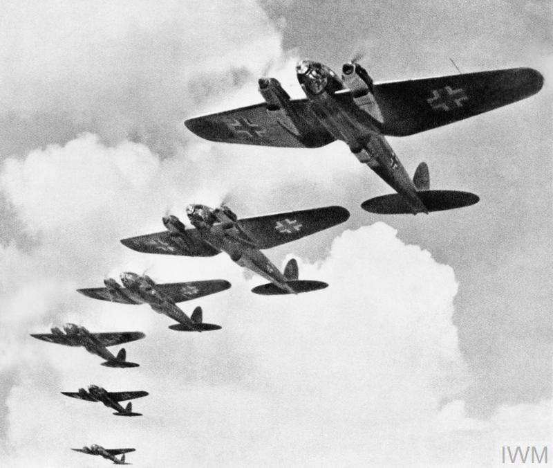 Heinkel He 111 bombers in formation. The He 111H was the mainstay of the German bomber force in 1940, with approximately 500 aircraft serving in 17 'Kampfgruppen' during the Battle of Britain.
