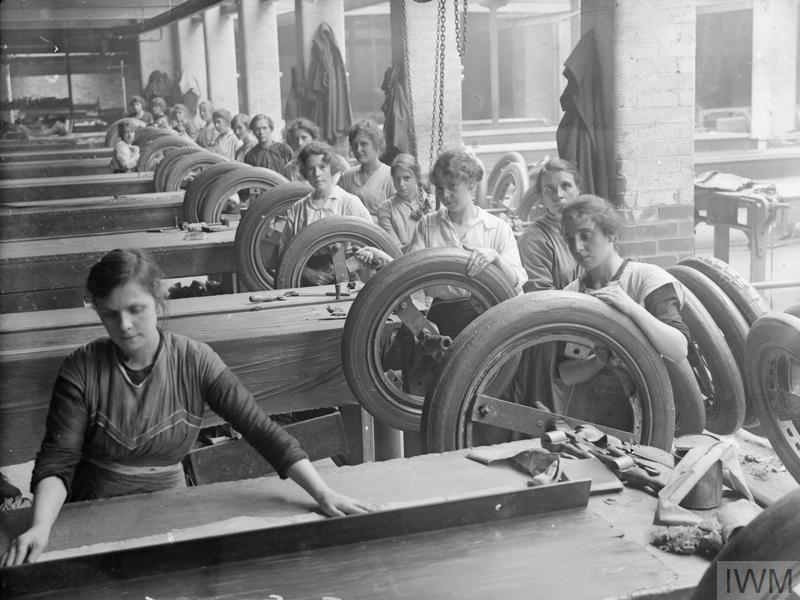 Female workers in a rubber factory in Lancashire, September 1918.