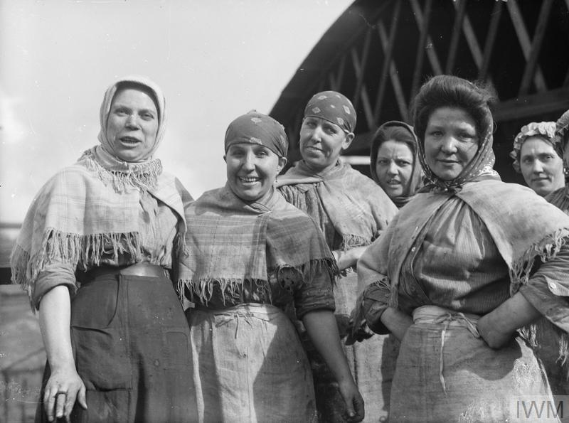 A group of female pit brow workers at a Lancashire coal mine in September 1918.