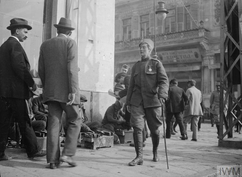 Sergeant Major Flora Sandes of the Serbian Army walks through Salonika in January 1917