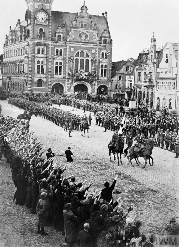 German troops march into the Rhineland on 1 March 1936.