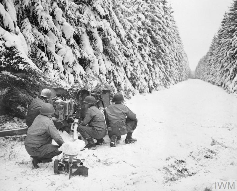 The Allied Counter Attack 25 December 1944 - 28 January 1945: Soldiers of the 83rd Infantry Division man an anti-tank gun near Revigny, midway between Houffalize and St Vith.
