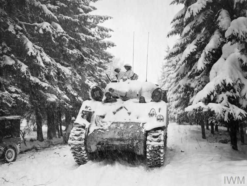 The Allied Counter Attack 25 December 1944 - 28 January 1945: A tank of the 740th Tank Battalion attached to the 82nd Airborne Division moves towards its objective at Herresbach.