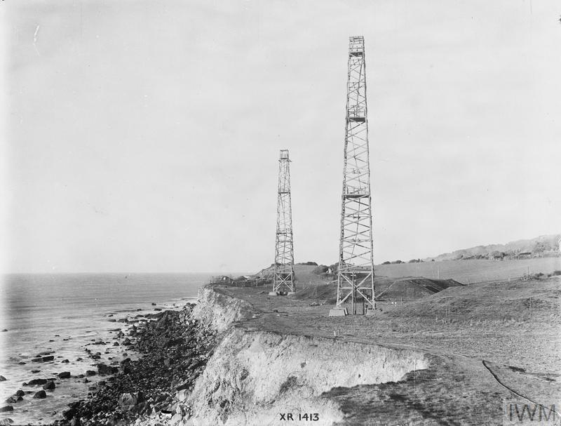 Chain Home: radar receiver towers and bunkers at Woody Bay near St Lawrence, Isle of Wight, England. This installation was a 'Remote Reserve' station to Ventnor CH.