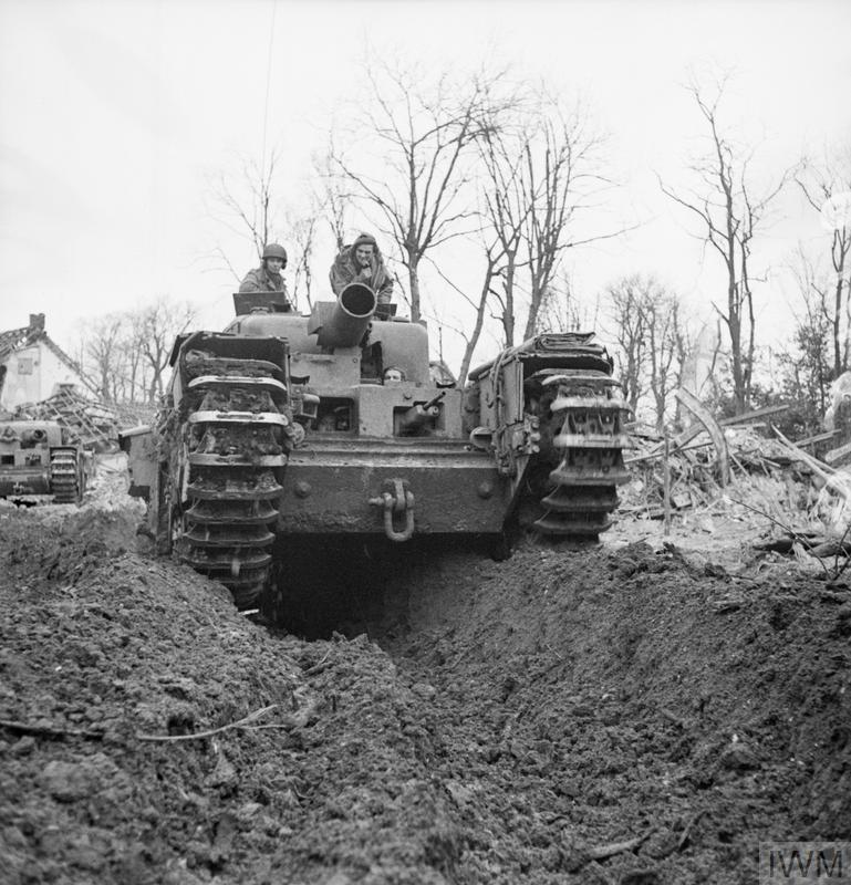 Churchill AVRE with Spigot mortar in Kleve, Germany, 12 February 1945.