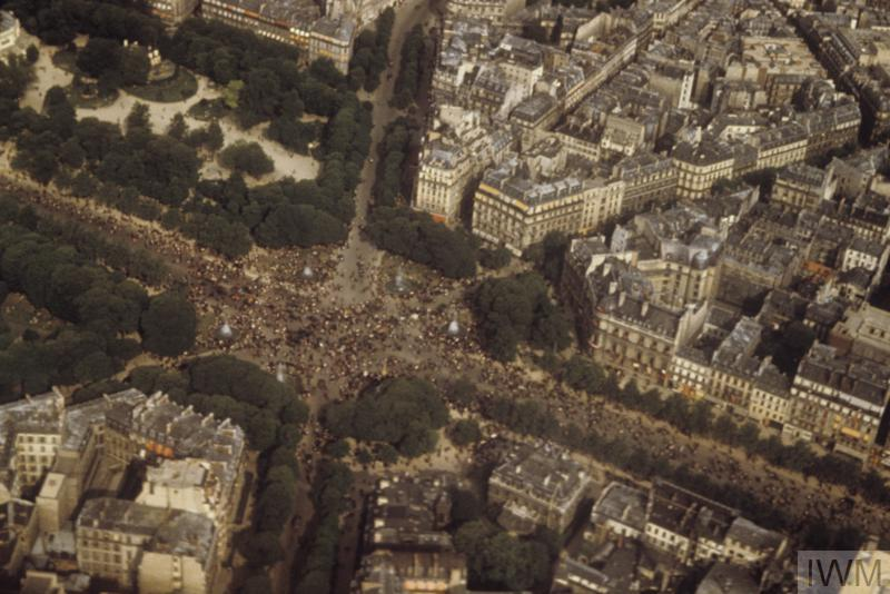 The Champs-Élysées in Paris on VE Day, photographed from an A-26 Invader of the 386th Bomb Group.