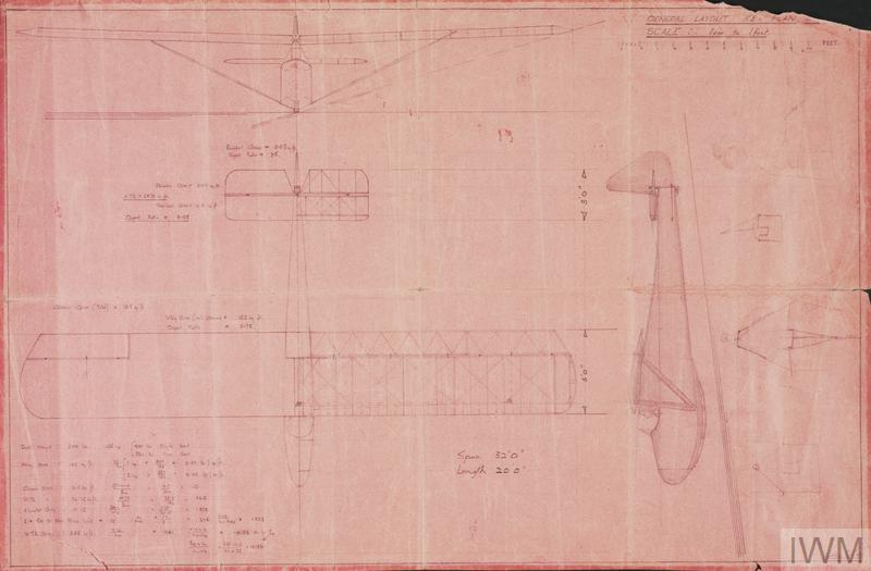Plans for a glider that was built by prisoners on war held at Colditz Castle (L 34 cm x W 52 cm). The plans are hand drawn at 1 cm to 1 foot scale on pink paper and show three views of the glider – front, plan and side.
