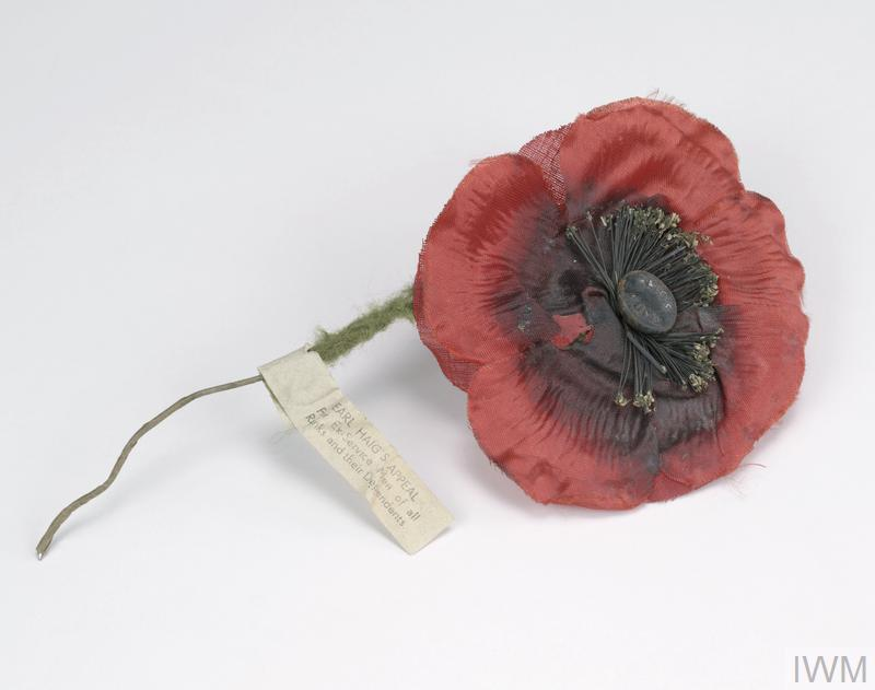 Interwar period British 'Remembrance Day' poppy which belonged to Colonel Wilson of the Salvation Army.