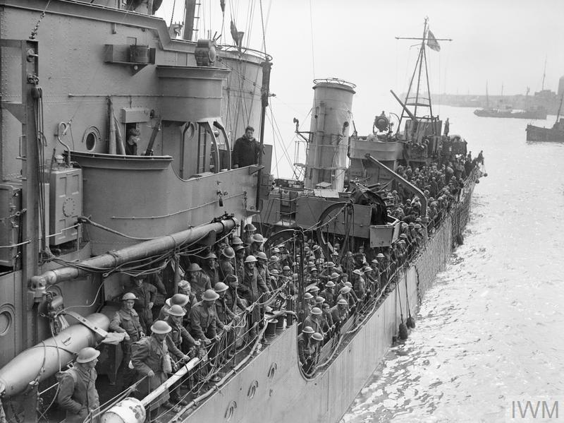 Evacuated troops on a destroyer about to berth at Dover, 31 May 1940.