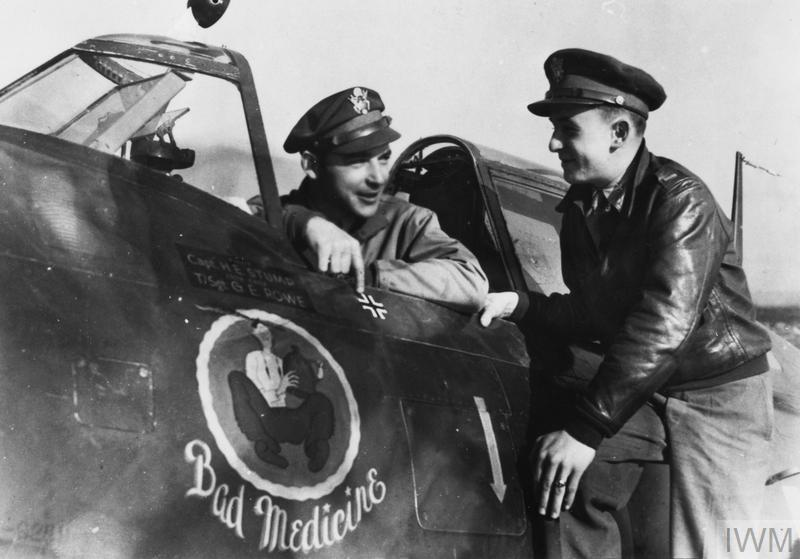 "© IWM [FRE 2774] – Captain Harold E. Stump and 2nd Lieutenant George J. Hays of the 78th Fighter Group  with a P-47 Thunderbolt nicknamed ""Bad Medicine"", 15 October 1943. Stump was among those killed on 10 June 1944."