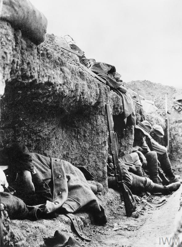 New Zealand soldiers resting in the trenches on Rhododendron Spur, Gallipoli, a few weeks after it was taken.