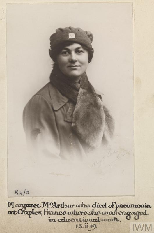 Margaret McArthur, Young Men's Christian Association. Died of pneumonia in France 13 February 1919.