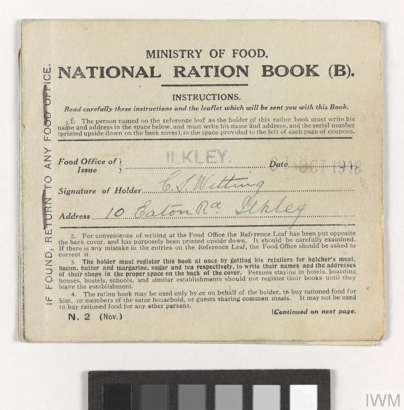 First World War ration book issued to the Witting family - EH Common Objects case