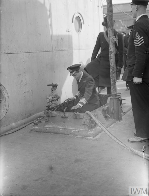 HRH THE DUKE OF KENT DURING HIS VISIT TO DEVONPORT. 1941, ON BOARD HMS KENT.