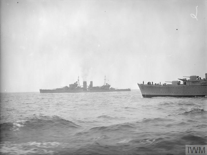 HMS EXETER UNDERGOES TRIALS. MARCH 1941, ON BOARD THE DESTROYER HMS KELVIN WHICH ESCORTED EXETER DURING THE TRIALS.