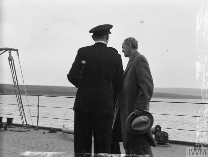 THE PRIME MINISTER'S VISIT TO PRESIDENT ROOSEVELT. 4 AUGUST 1941, ON BOARD SHIPS OF THE HOME FLEET AT SCAPA FLOW. THE PRIME MINISTER VISITED SHIPS OF THE HOME FLEET BEFORE DEPARTING IN HMS PRINCE OF WALES FOR THE VOYAGE ACROSS THE ATLANTIC TO MEET PRESIDENT ROOSEVELT OFF NEWFOUNDLAND.