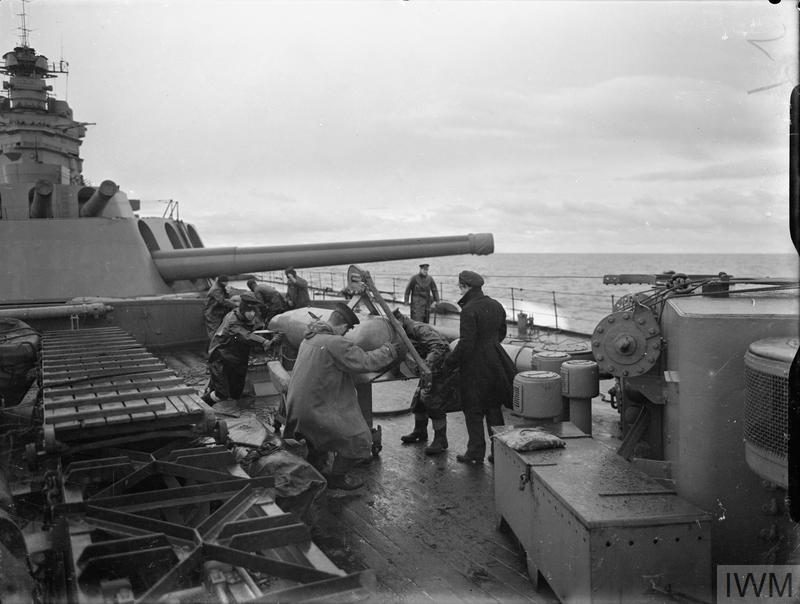 ON BOARD THE BATTLESHIP HMS RODNEY AT SEA. 1940.